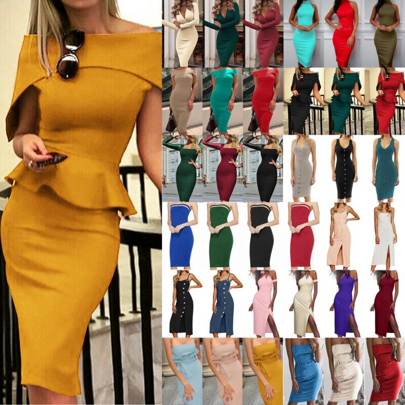 Damen Kleider Bodycon Partykleid Abendkleid Cocktailkleid Sommer Bleistiftkleid