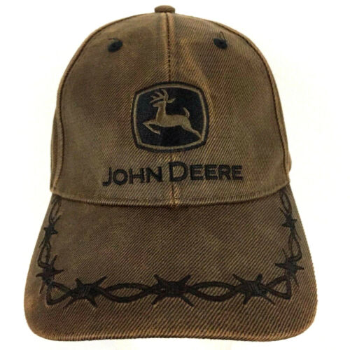 John Deere Country Barb Wire Oilskin Waxed Cap Logo Farmer Trucker Baseball Hat