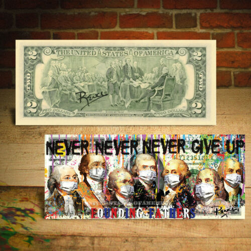 Founding Fathers of USA Germ Warefare Awareness Pop Art SIGNED by Rency $2 Bill