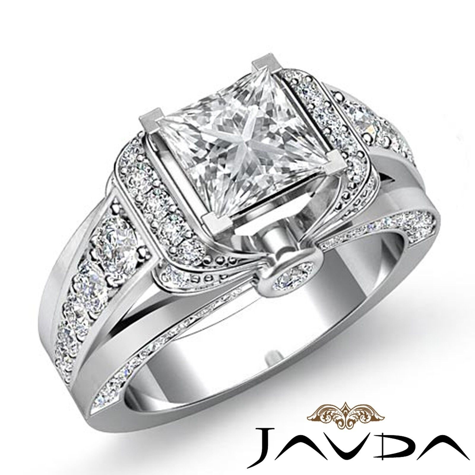 2.18ctw Classic Knot Sidestone Princess Diamond Engagement Ring GIA H-VS1 Gold