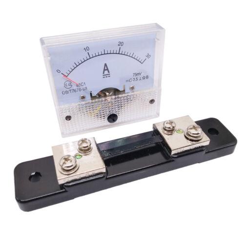 US Stock Analog Panel AMP Current Ammeter Meter Gauge 85C1 0-30A DC & Shunt