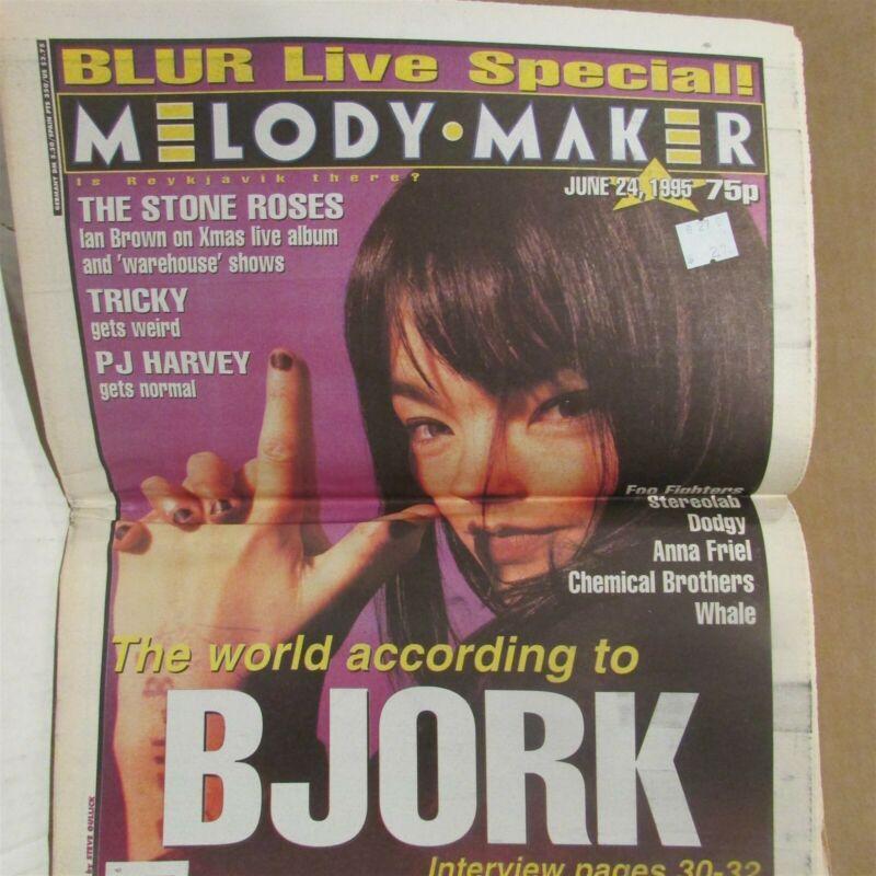 BJORK Blur PJ HARVEY Stone Roses MELODY MAKER MAGAZINE June 24 1995