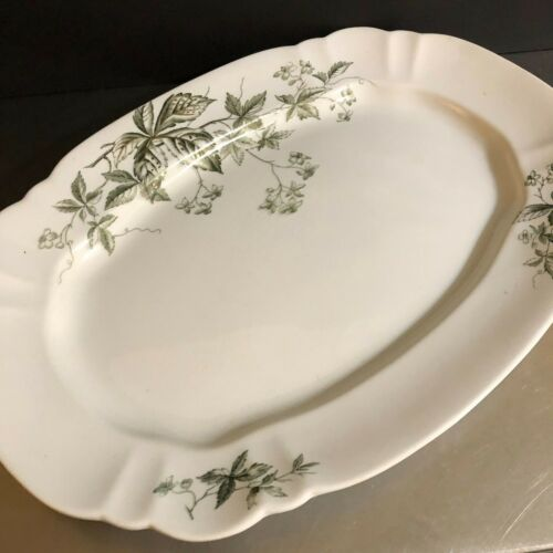 Antique Ironstone John Edwards Platter Green White Transferware Thanksgiving UK