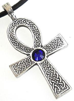 - PEWTER Ankh Egypt Cross AUSTRIAN CRYSTAL Birthstone SEPTEMBER Sapphire PENDANT