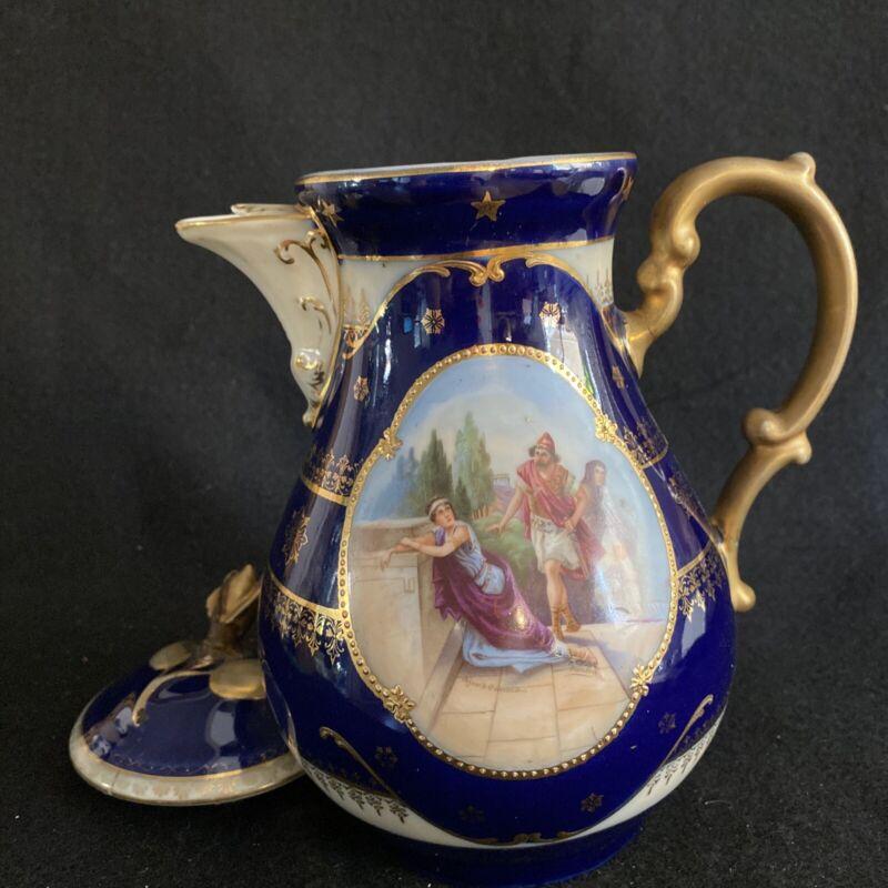 Antique Royal Vienna Victoria Austria Cobalt Classical Hand Painted Scene Teapot