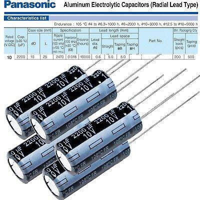 5pk Panasonic Fr Series 2200uf 10v - Electrolytic Radial Capacitors 10x27mm