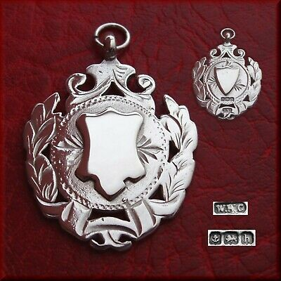 Antique Edwardian solid silver fob medal for a pocket watch chain / pendant 1907
