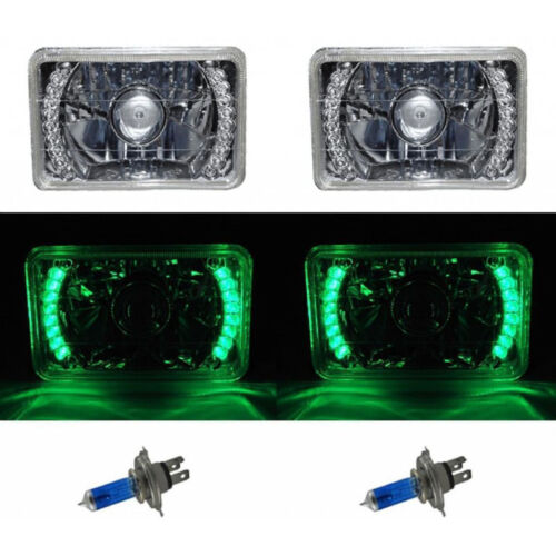 "4X6"" Green LED Halo Projector Halogen Headlight Headlamp Bulb Crystal Clear Pair"