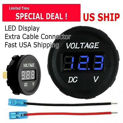 Led Digital Display Voltmeter Car Motorcycle Voltage Volt Gauge Panel Meter 12v