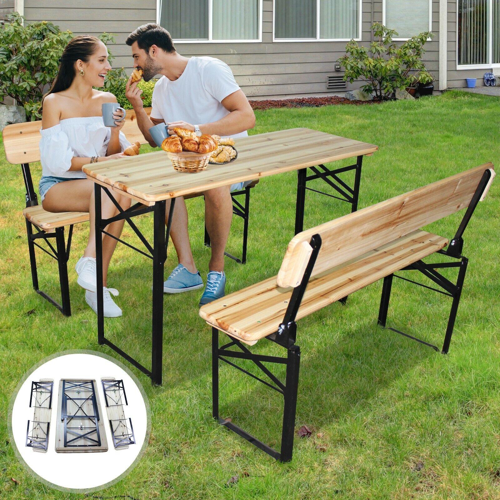 Picknicktisch 175 cm Festzeltgarnitur Gartentisch Gartenbank Bierbank klappbar