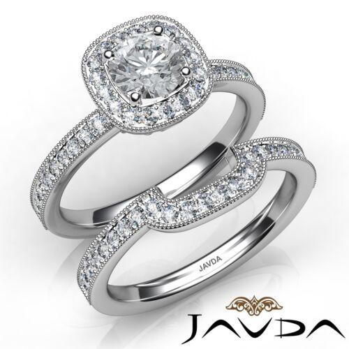 Round Diamond Bridal Set Engagement Milgrain Ring GIA E SI1 14k White Gold 1.5ct