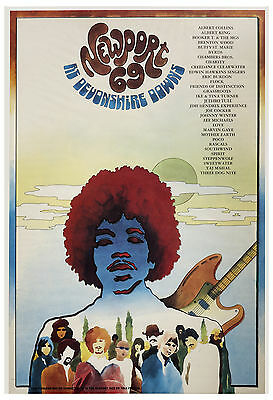 Jimi Hendrix & More Newport 69 Devonshire Downs Poster 1969 Large Format 24x36