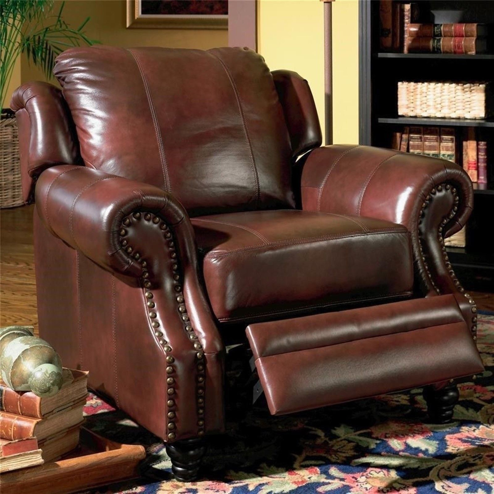 Princeton Traditional Burgundy Genuine Leather Recliner Reclining Arm Chair New 21032150211 Ebay