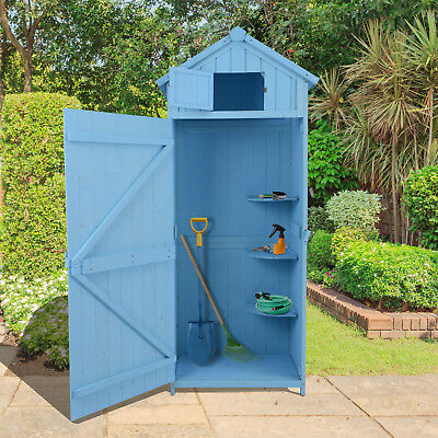 Outsunny Wooden Garden Shed Beach Hut Style Outdoor Tool Storage Sentry Box Blue
