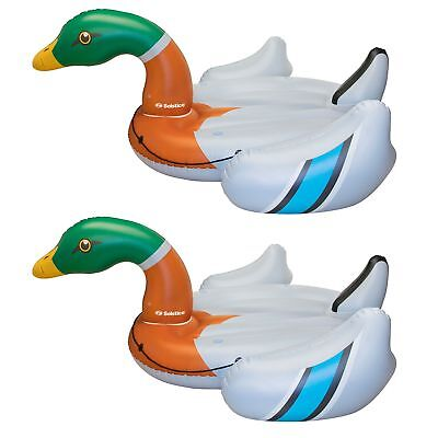 Swimline Giant Inflatable Ride On 131 Inch Pool Decoy Duck Island Float (2 Pack) (Inflatable Duck)