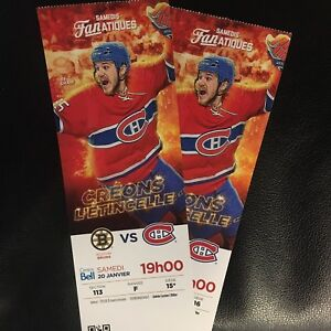 2 TICKETS Boston Bruins VS Montreal Canadiens SECTION ROUGE