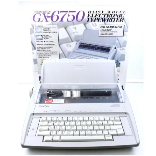 Brother GX-6750 Daisy Wheel Electronic Portable Typewriter With Box And Manuals