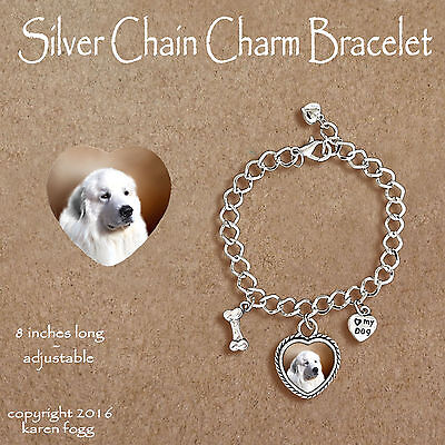 GREAT PYRENEES DOG - CHARM BRACELET SILVER CHAIN & HEART