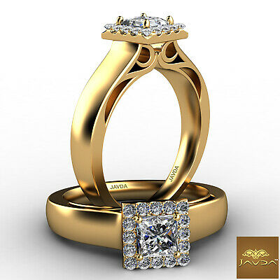 Halo French U Pave Princess Cut Diamond Engagement Filigree Ring GIA F VS1 0.7Ct