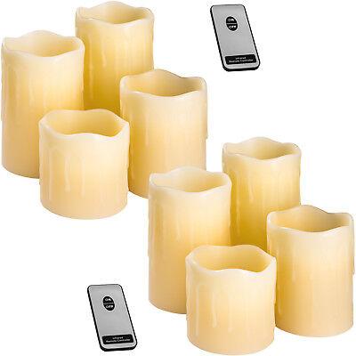 2x Set da 4 candele a LED in vera cera con telecomando senza fiamma Candela