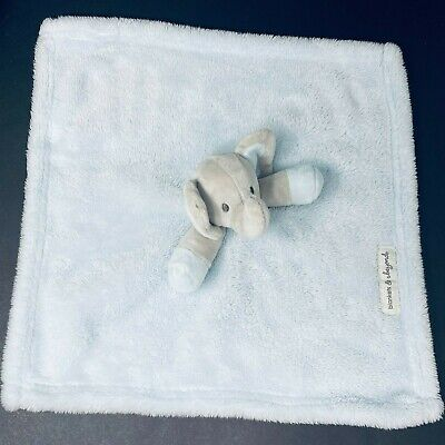 "Blankets & Beyond Gray Elephant Plush Baby Lovey Security Blanket Blue 15 x 15"""