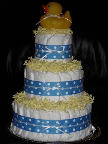 Light Blue, Royal Blue, Orange, or Pink Baby Shower Diapercake