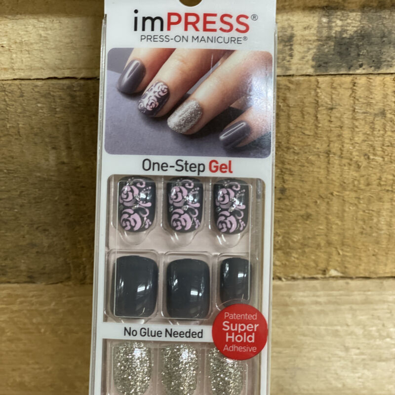 Impress Gel Manicure Nails Gray and Pink Floral 64873 D25