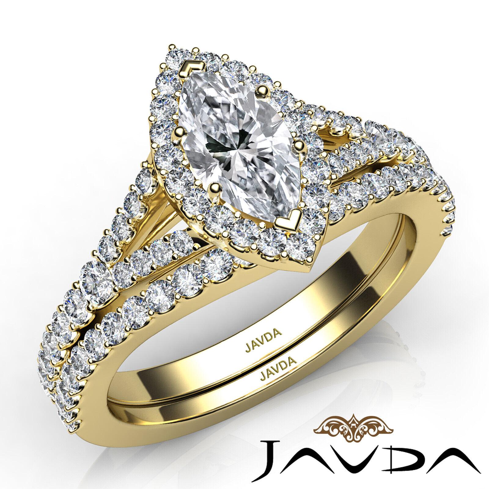 2.02ctw Halo Bridal Set Split Shank Marquise Diamond Engagement Ring GIA F-SI1 9