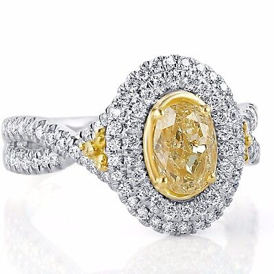 GIA Certified 1.97 ct Yellow Oval Diamond Engagement Halo Ring Infinity 18k Gold