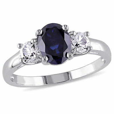 Amour Sterling Silver Created Blue and Created White Sapphire 3-Stone Ring 3 Stone Blue Sapphire Ring