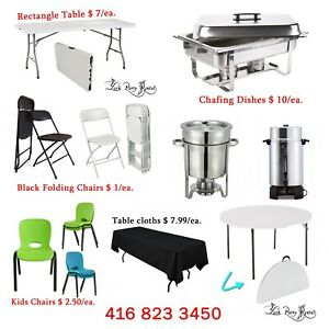 PARTY equipment RENTAL!! Chairs, Tables, chafing dishes $1