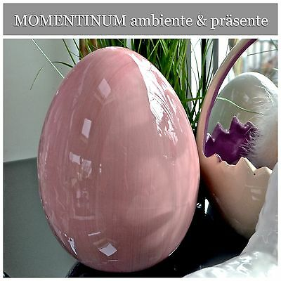 Deko Ei zum Stellen 16cm Keramik ROSA glänzend Tischdeko Ostern shabby PORTOFREI