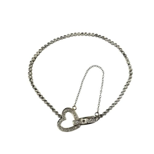 Vintage 14 Karat White Gold Diamond Tennis Bracelet with Heart Clasp #9901
