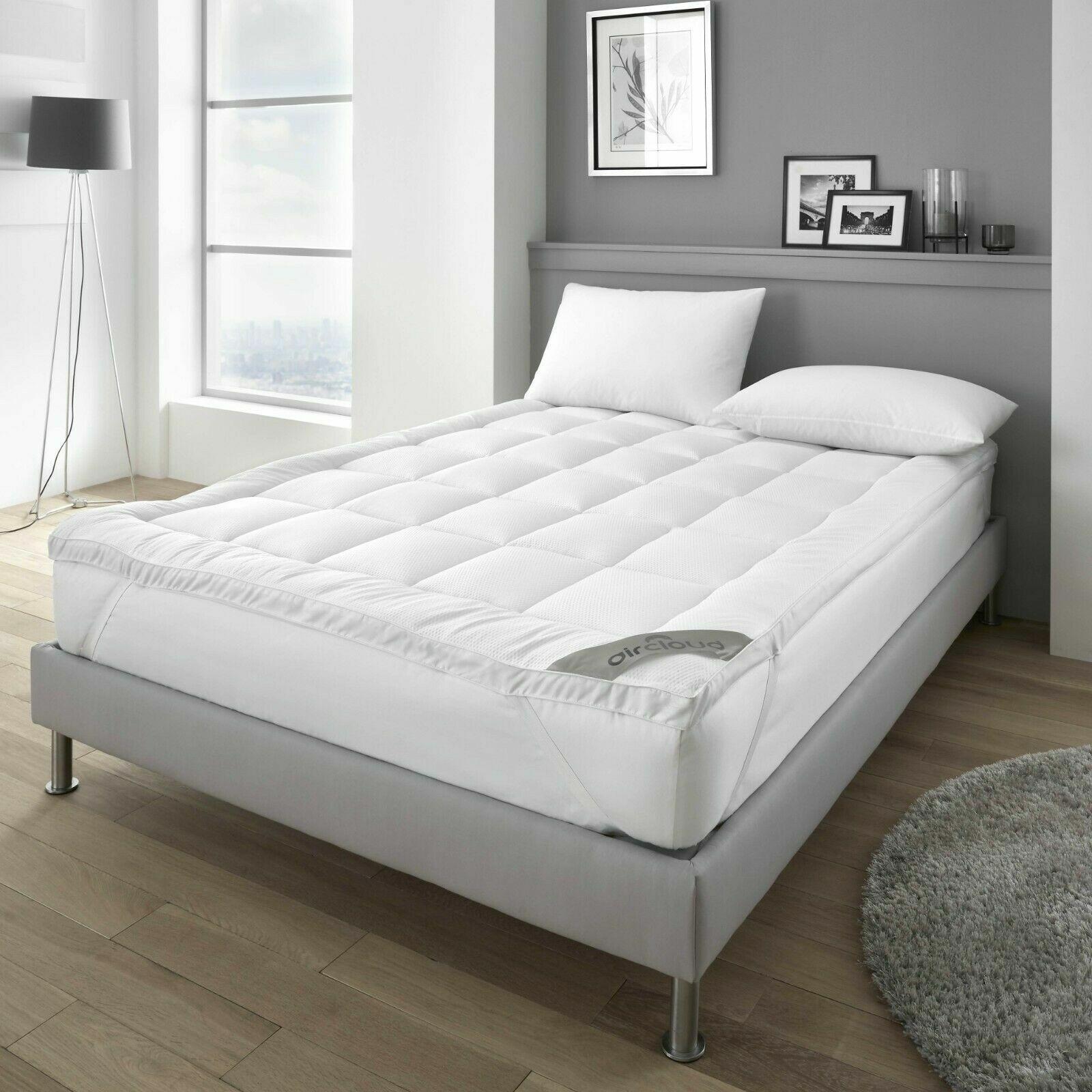 HOTEL QUALITY Mattress Protector Seersucker Topper 4cm NON-ALLERGENIC Extra Soft