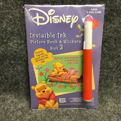 Disney Winnie The Pooh Book 2 Invisible Ink & Stickers Activity Picture Book NEW (Invisible Ink Book)