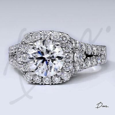 Natural 1.90 Tcw Round Cut Halo Split Shank Diamond Engagement Ring, I/VS2- GIA 1