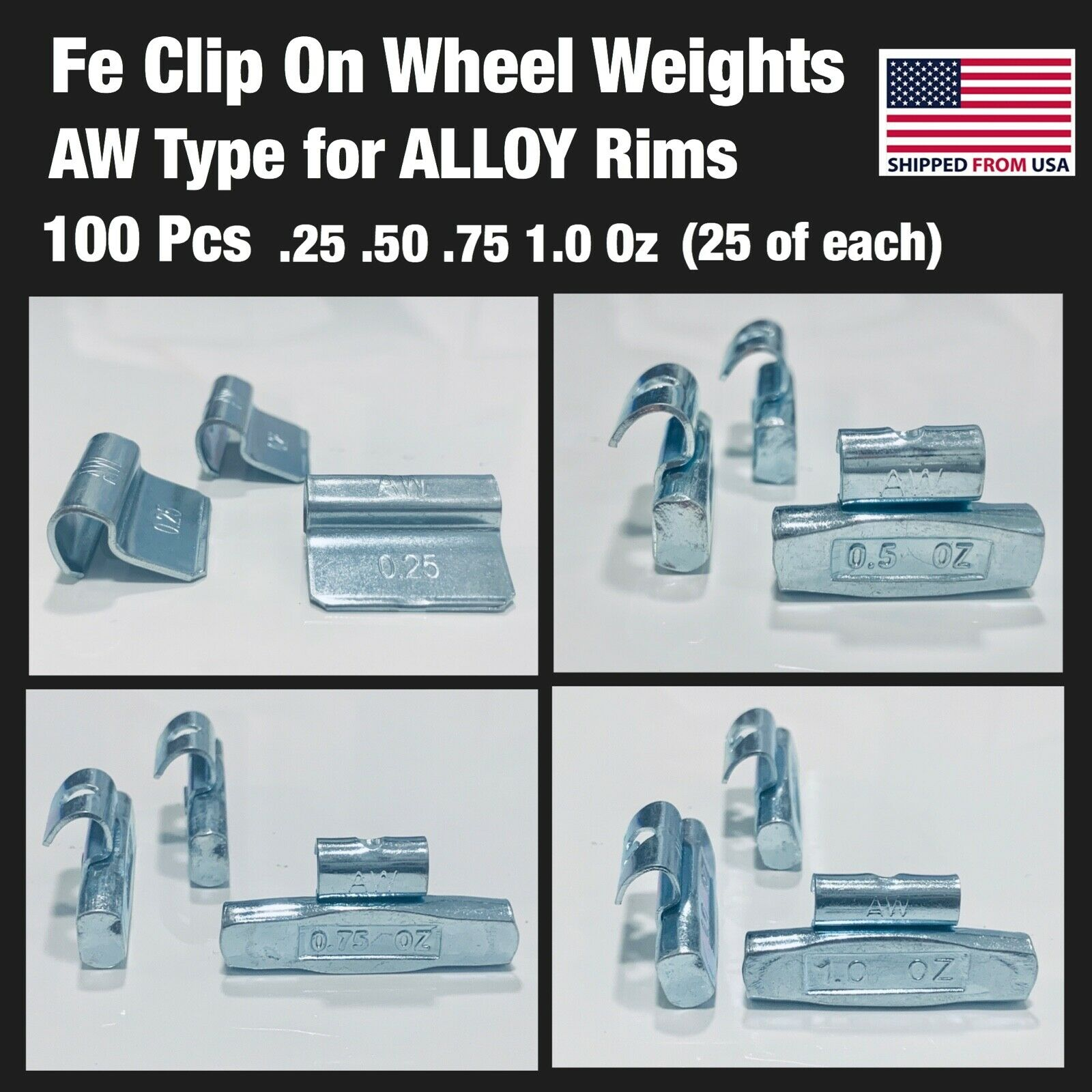 100 PIECES FE CLIP ON WHEEL WEIGHTS .25 .50 .75 1.0 (25 each) ALLOY RIM AW TYPE