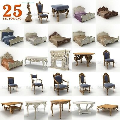 3d Stl Model Cnc Router Artcam Aspire 25 Pcs Bed Fireplace Table Collection