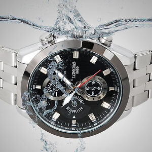 Luxury-Mens-Black-Stainless-Steel-Sport-Waterproof-Tachymeter-Quartz-Wrist-Watch