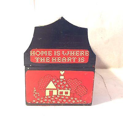 Vtg Paint Wooden Hip Roof Barn Recipe Box Strawberry Banana Bread Moms Apple Pie