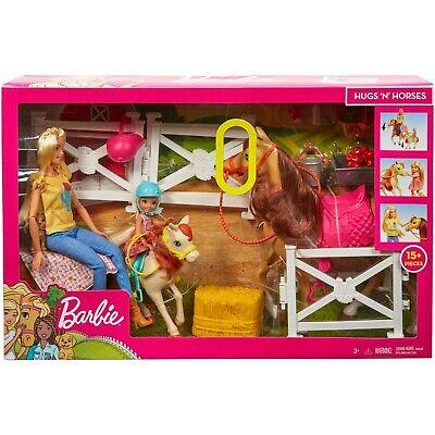 Barbie Hugs N Horses Playset with Blonde Barbie & Chelsea Dolls, Horse, Pony +