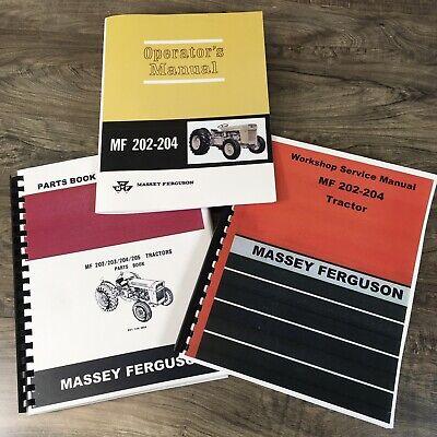 Set Massey Ferguson 202 Tractor Service Manual Parts Catalog Operators Repair