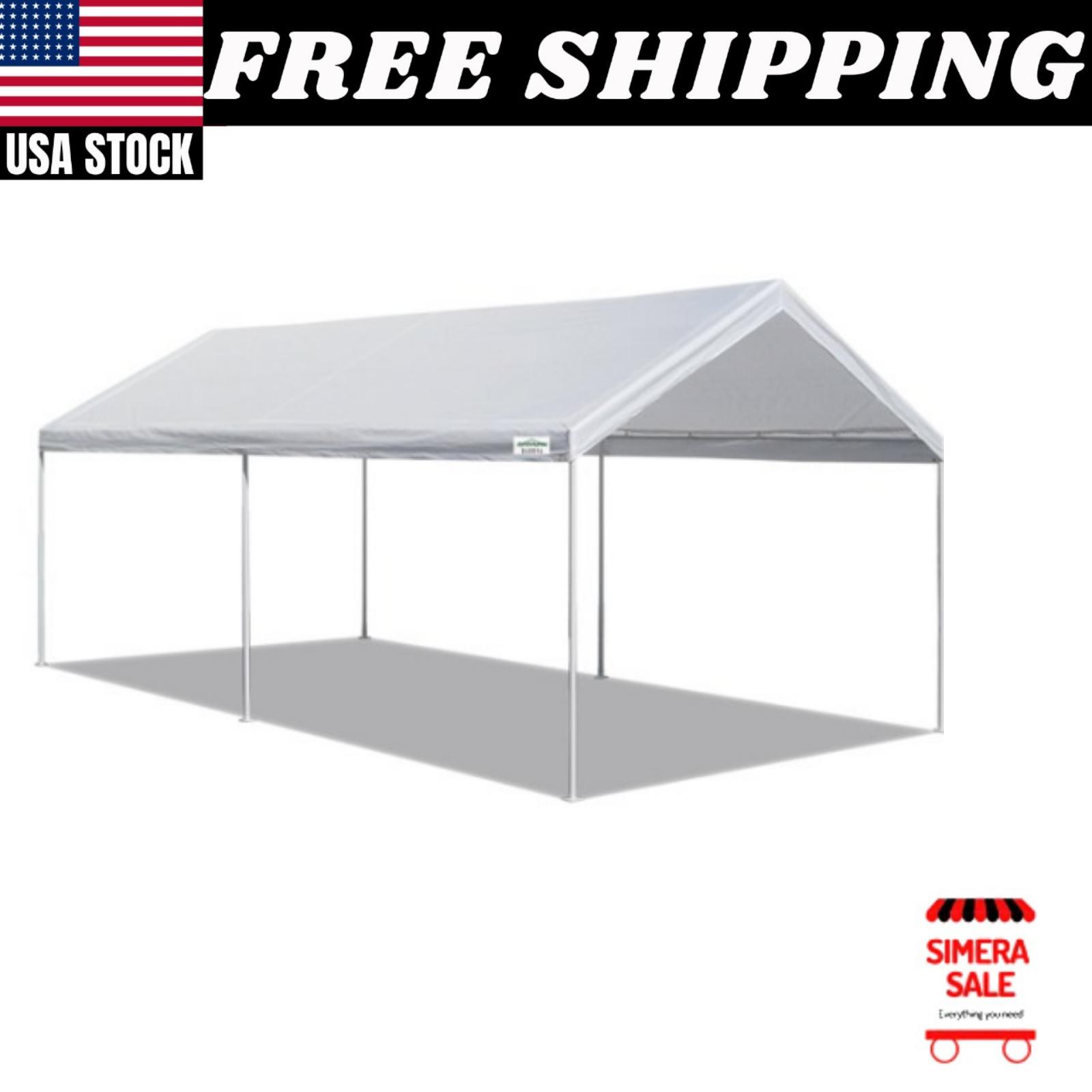 Domain Basic 10 X20 Carport Shelter With Durable Powder Coated Steel Frame Ebay