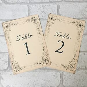 Antique style Wedding Table Numbers Names Cards - Shabby Chic vintage Frame