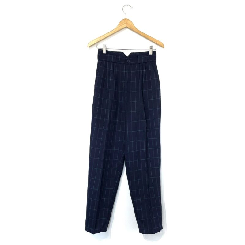 Vintage super high rise windowpane plaid pants Sz XS Mom Style Tapered Leg Blue