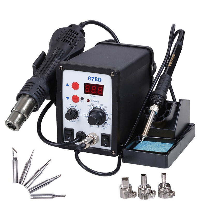878D 2in1 Soldering Rework Station ESD Iron Welder Gun Hot Air Gun Welder Tooll