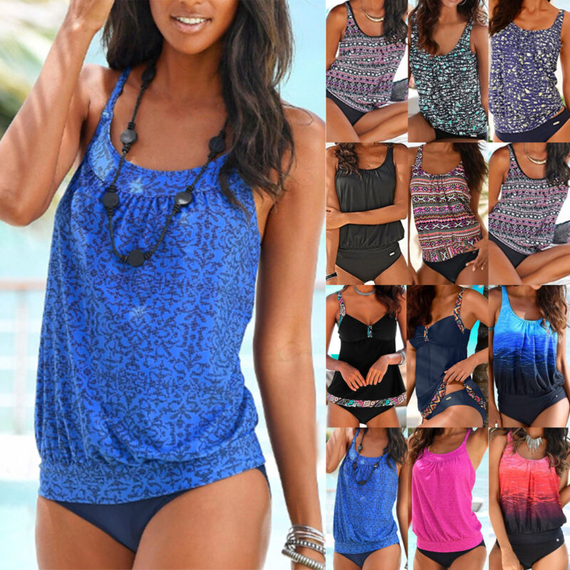 Women Tankini Loose Set Padded Swimsuit Swimwear Ladies Plus Size Bathing Suit Clothing, Shoes & Accessories