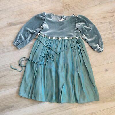 VTG Iridescent SILK & VELVET FLOWER DRESS 3t girls