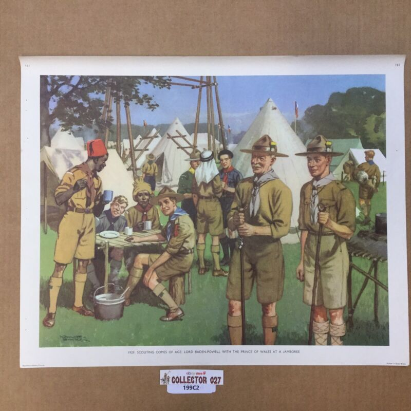 Boy Scout 1929 Jamboree Poster Lord Baden-Powell & Prince Of Wells At Jamboree