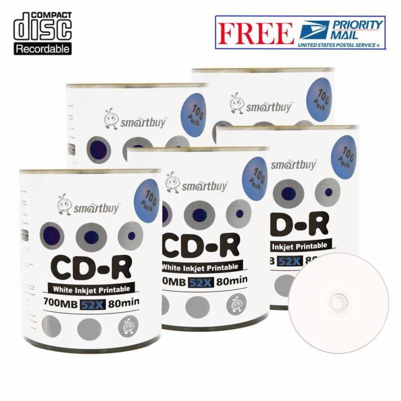 500 Pack Smartbuy Cd-r 52x 700mb White Inkjet Printable Blank Disc Priority Mail